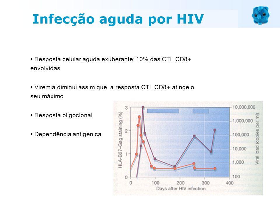 Infecção aguda por HIVResposta celular aguda exuberante: 10% das CTL CD8+ envolvidas.