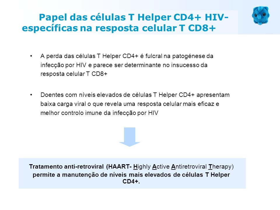 permite a manutenção de níveis mais elevados de células T Helper CD4+.