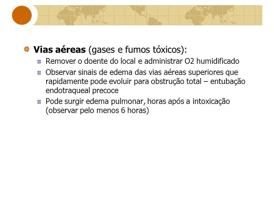 Vias aéreas (gases e fumos tóxicos):