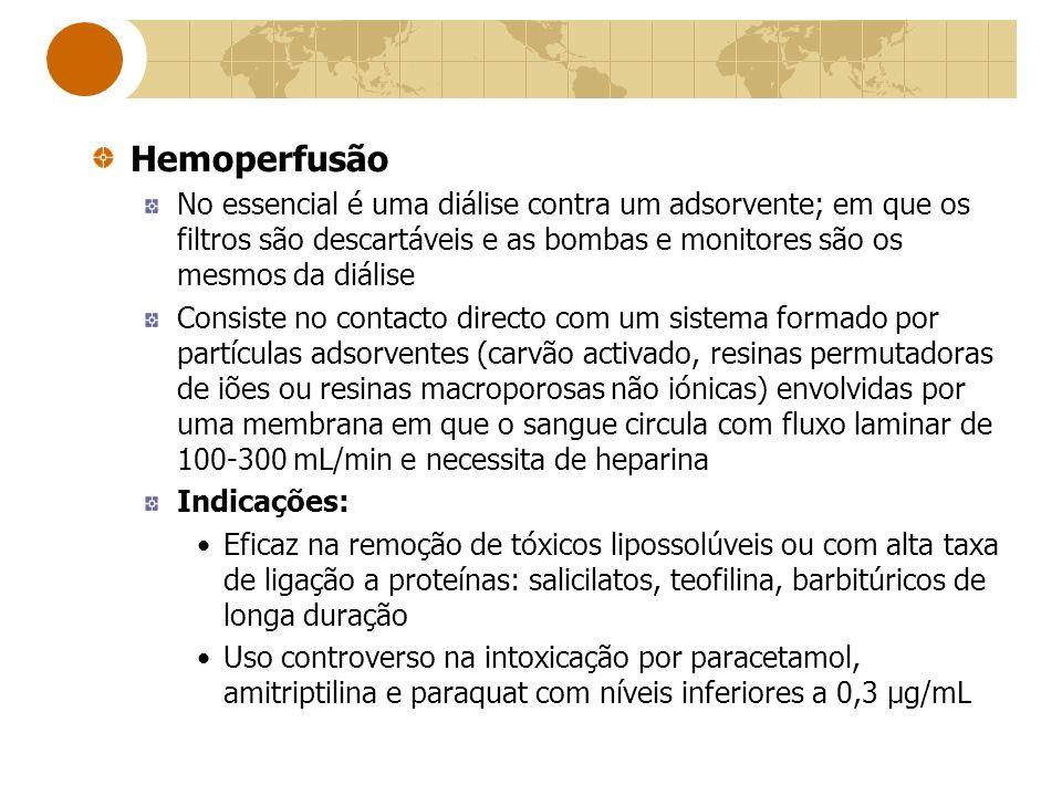 Hemoperfusão No essencial é uma diálise contra um adsorvente; em que os filtros são descartáveis e as bombas e monitores são os mesmos da diálise.
