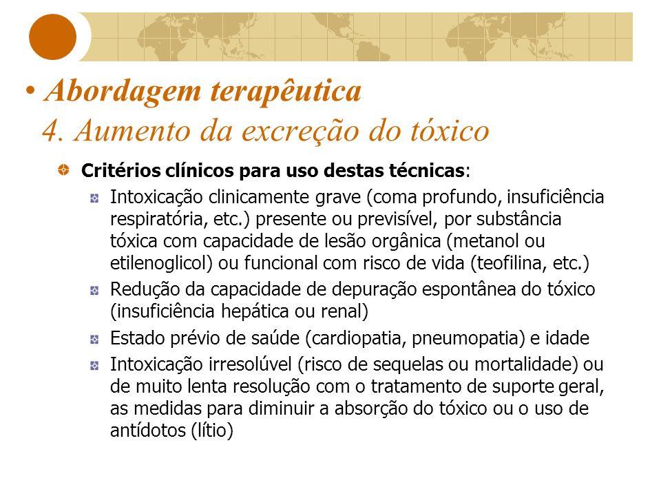 Abordagem terapêutica 4. Aumento da excreção do tóxico