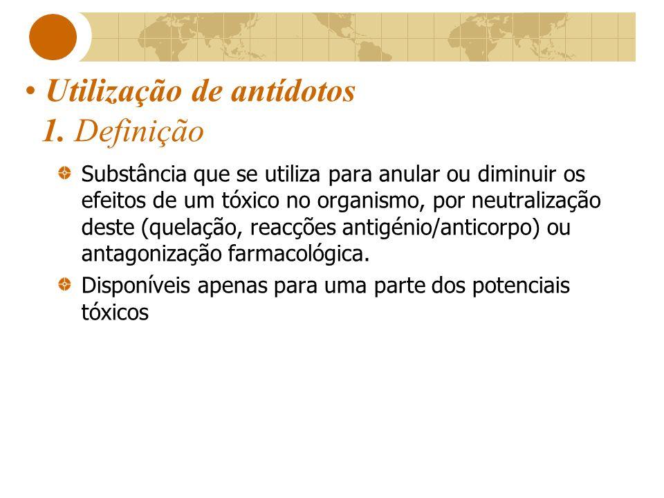 Utilização de antídotos 1. Definição