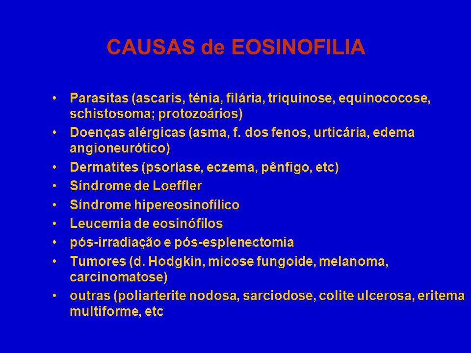 CAUSAS de EOSINOFILIA Parasitas (ascaris, ténia, filária, triquinose, equinococose, schistosoma; protozoários)