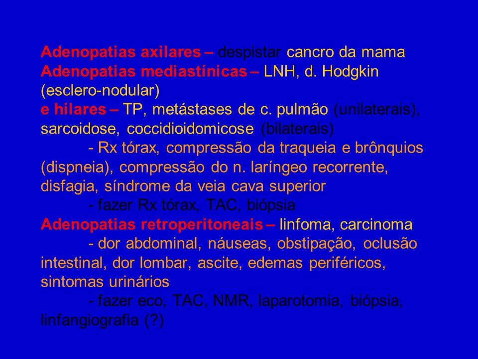 Adenopatias axilares – despistar cancro da mama Adenopatias mediastínicas – LNH, d.