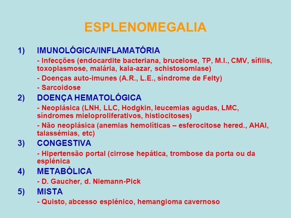 ESPLENOMEGALIA IMUNOLÓGICA/INFLAMATÓRIA DOENÇA HEMATOLÓGICA CONGESTIVA