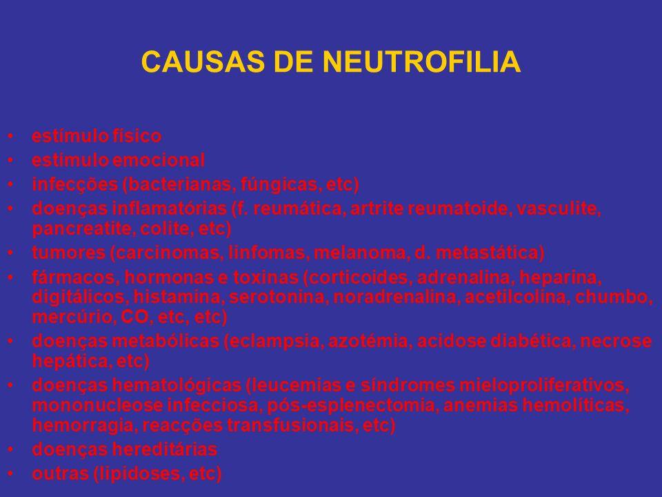 CAUSAS DE NEUTROFILIA estímulo físico estímulo emocional