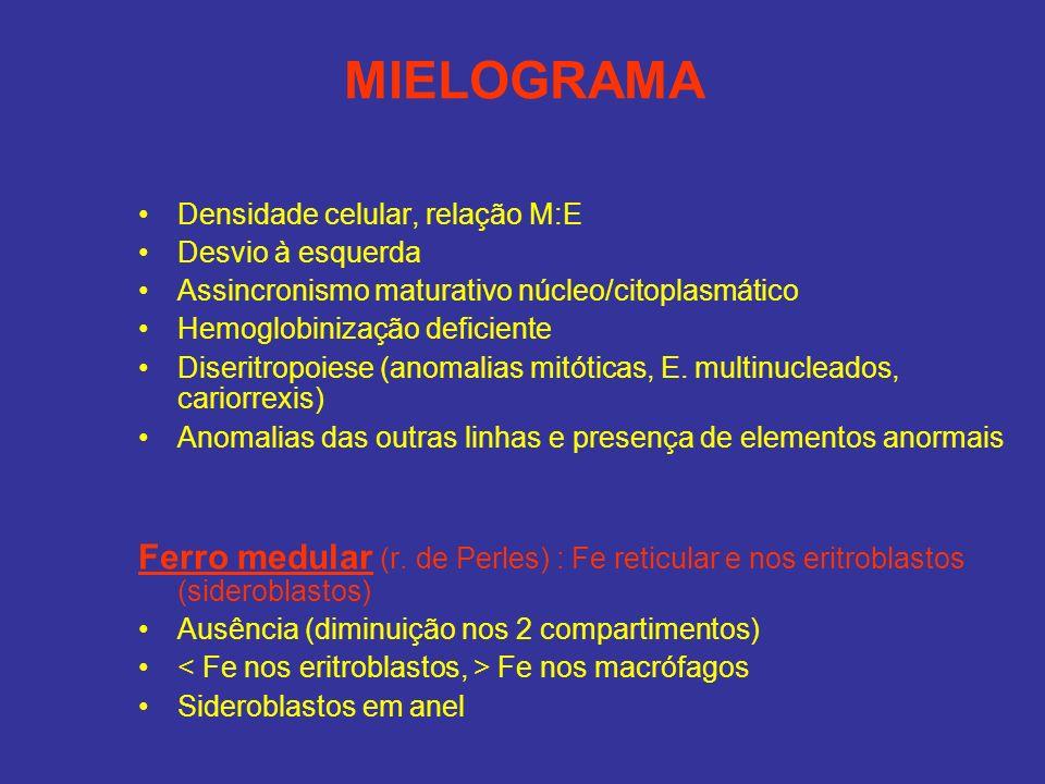 MIELOGRAMADensidade celular, relação M:E. Desvio à esquerda. Assincronismo maturativo núcleo/citoplasmático.