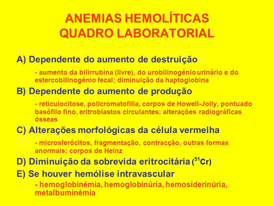 ANEMIAS HEMOLÍTICAS QUADRO LABORATORIAL