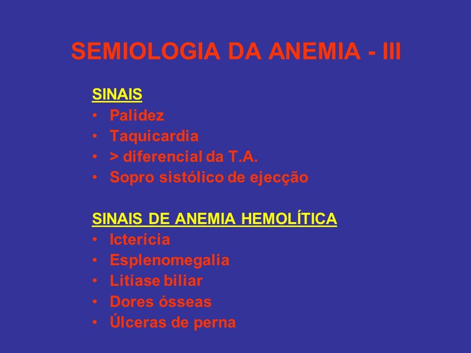 SEMIOLOGIA DA ANEMIA - III