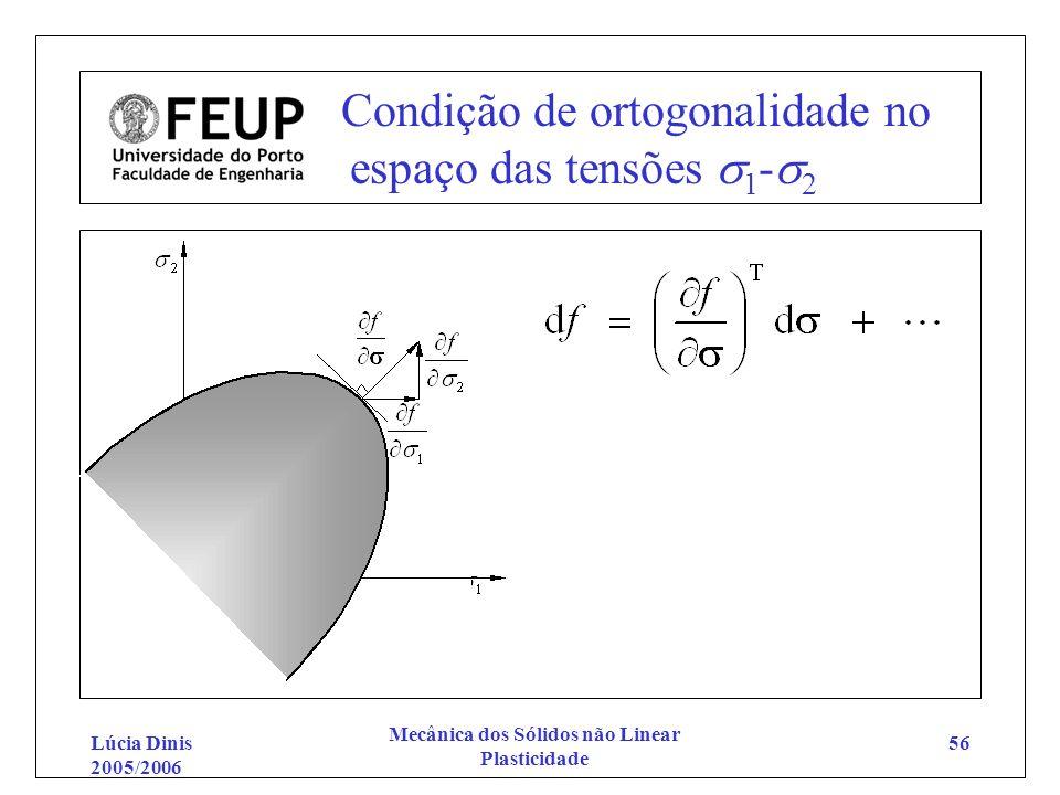 Condição de ortogonalidade no espaço das tensões 1-2