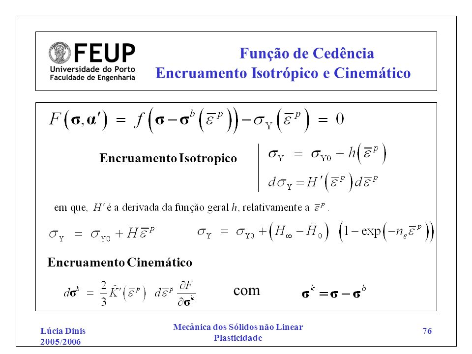 Função de Cedência Encruamento Isotrópico e Cinemático