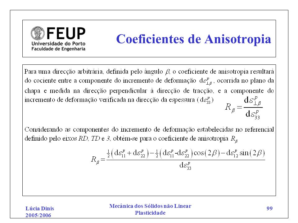 Coeficientes de Anisotropia
