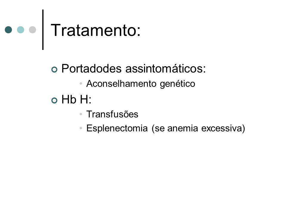 Tratamento: Portadodes assintomáticos: Hb H: Aconselhamento genético