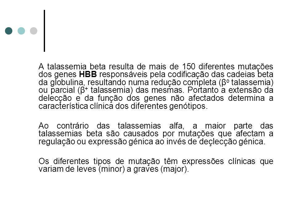 A talassemia beta resulta de mais de 150 diferentes mutações dos genes HBB responsáveis pela codificação das cadeias beta da globulina, resultando numa redução completa (βo talassemia) ou parcial (β+ talassemia) das mesmas. Portanto a extensão da delecção e da função dos genes não afectados determina a característica clínica dos diferentes genótipos.