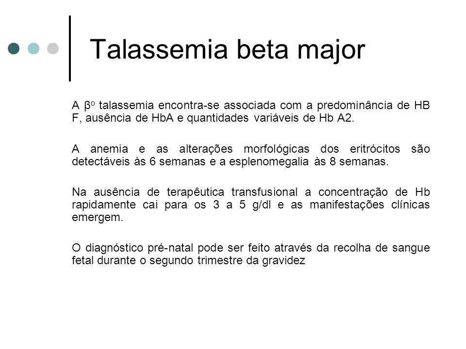 Talassemia beta major A βo talassemia encontra-se associada com a predominância de HB F, ausência de HbA e quantidades variáveis de Hb A2.