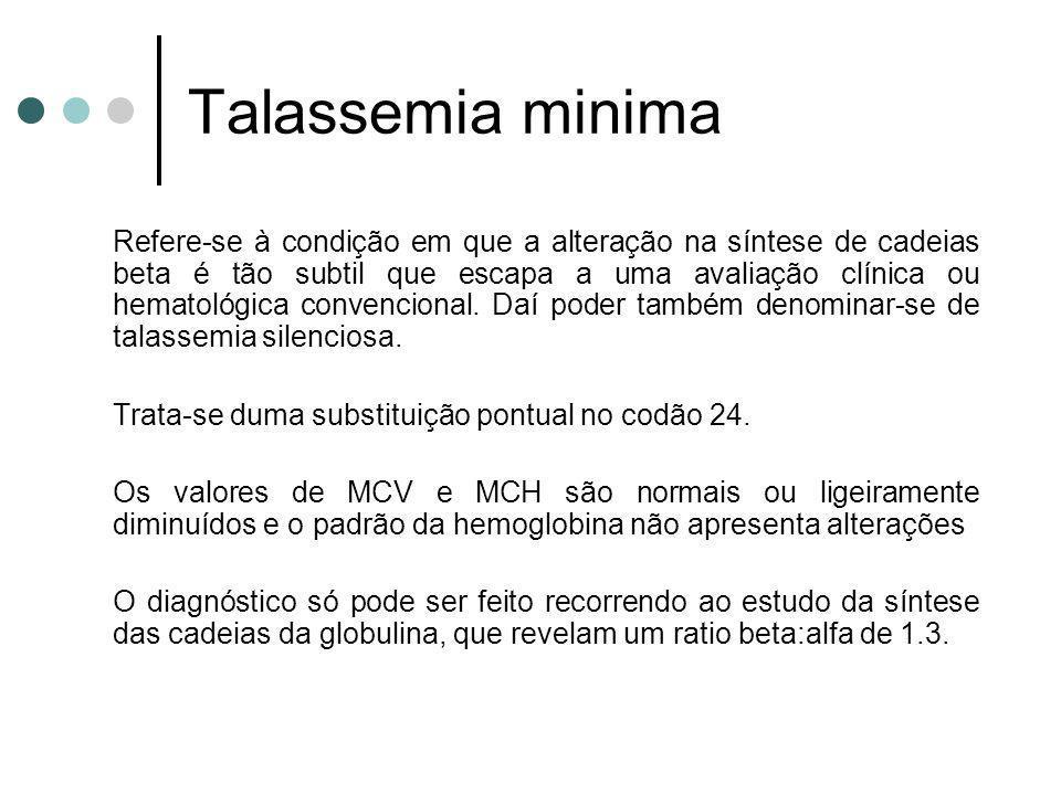 Talassemia minima Trata-se duma substituição pontual no codão 24.