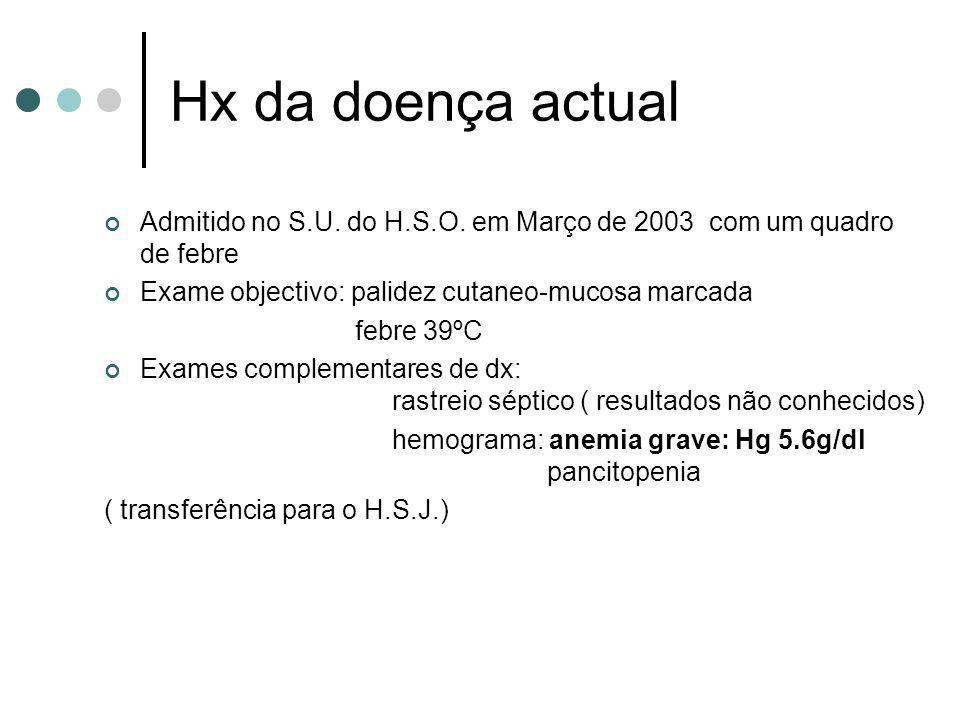 Hx da doença actual Admitido no S.U. do H.S.O. em Março de 2003 com um quadro de febre. Exame objectivo: palidez cutaneo-mucosa marcada.