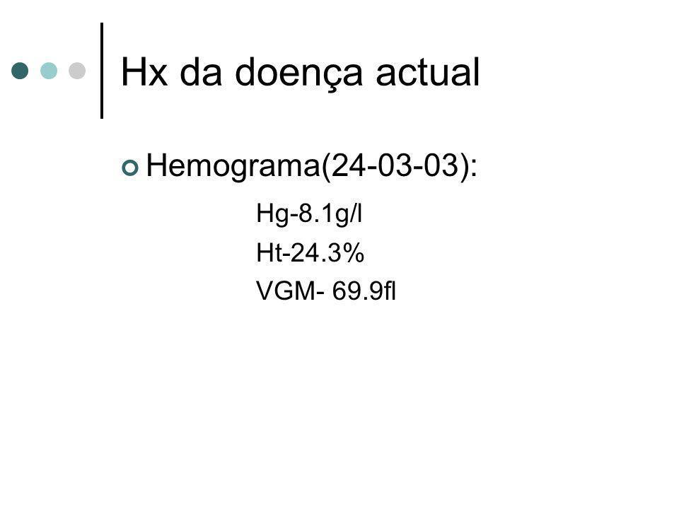 Hx da doença actual Hemograma(24-03-03): Hg-8.1g/l Ht-24.3%