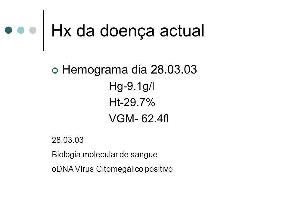 Hx da doença actual Hemograma dia 28.03.03 Hg-9.1g/l Ht-29.7%