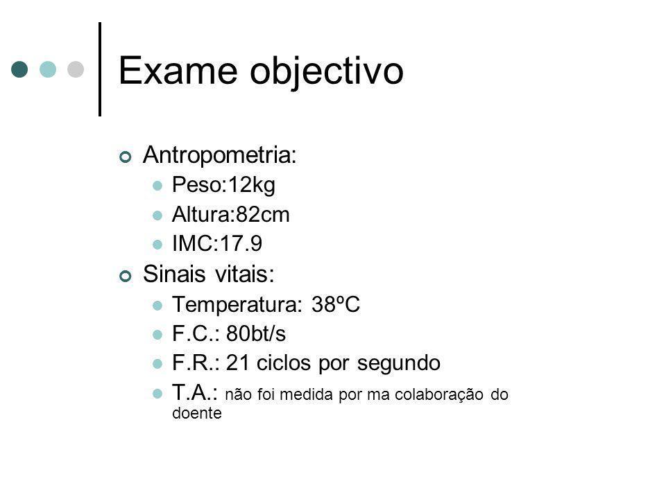 Exame objectivo Antropometria: Sinais vitais: Peso:12kg Altura:82cm