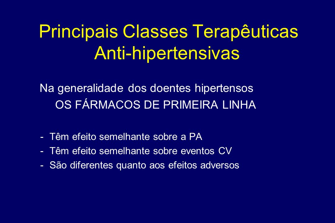 Principais Classes Terapêuticas Anti-hipertensivas