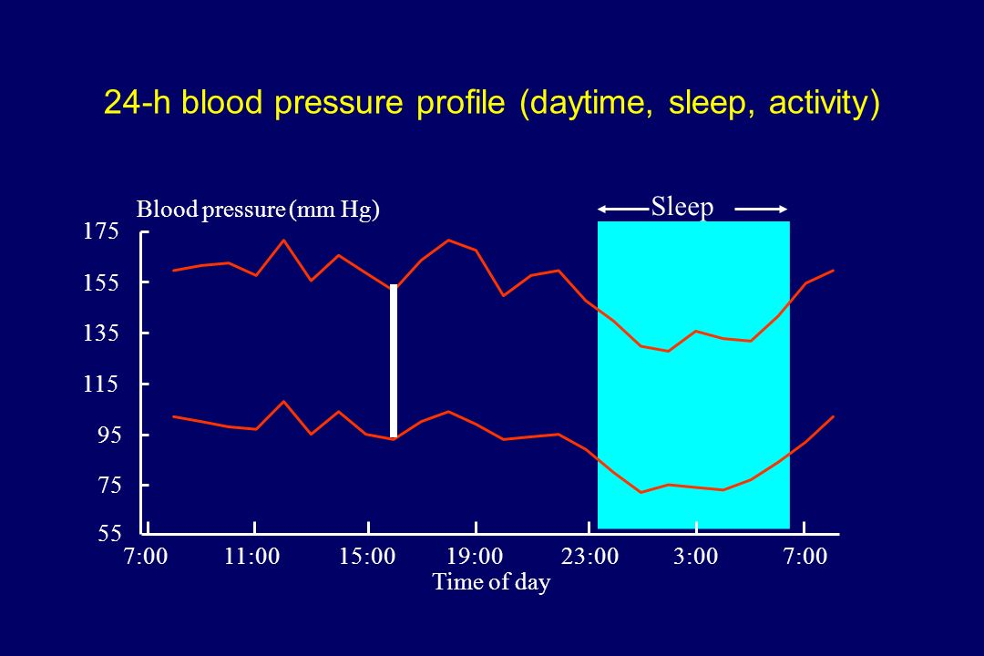 24-h blood pressure profile (daytime, sleep, activity)