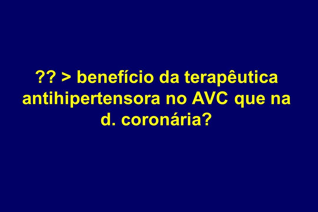 > benefício da terapêutica antihipertensora no AVC que na d
