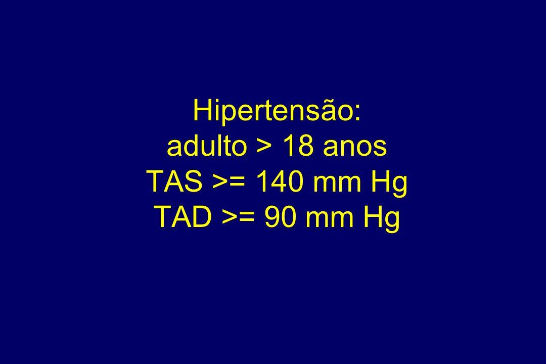 Hipertensão: adulto > 18 anos TAS >= 140 mm Hg TAD >= 90 mm Hg