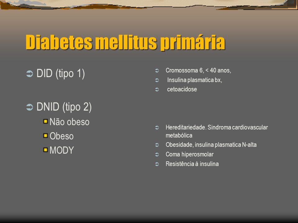 Diabetes mellitus primária