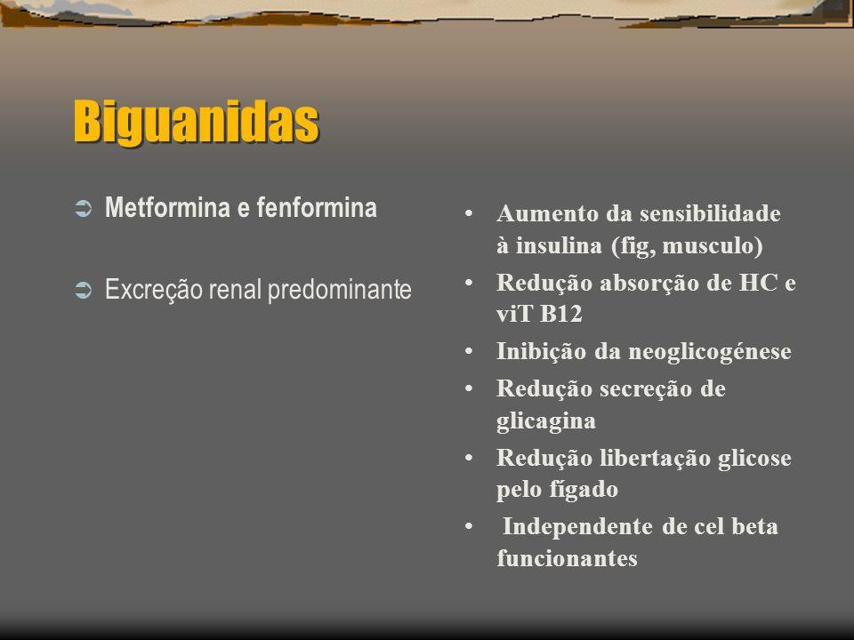 Biguanidas Metformina e fenformina Excreção renal predominante