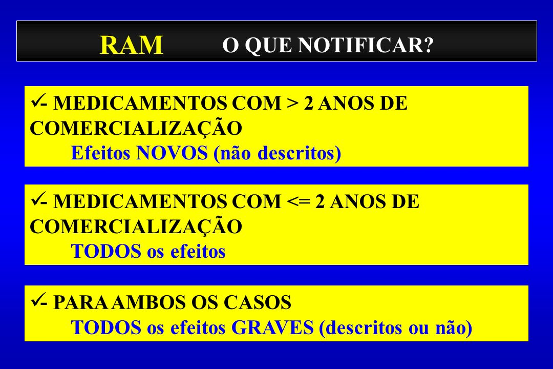 RAM O QUE NOTIFICAR - MEDICAMENTOS COM > 2 ANOS DE COMERCIALIZAÇÃO