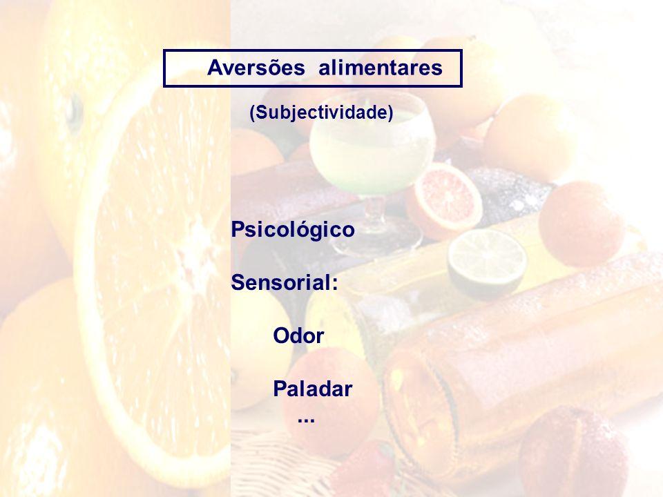 Aversões alimentares Psicológico Sensorial: Odor Paladar ...