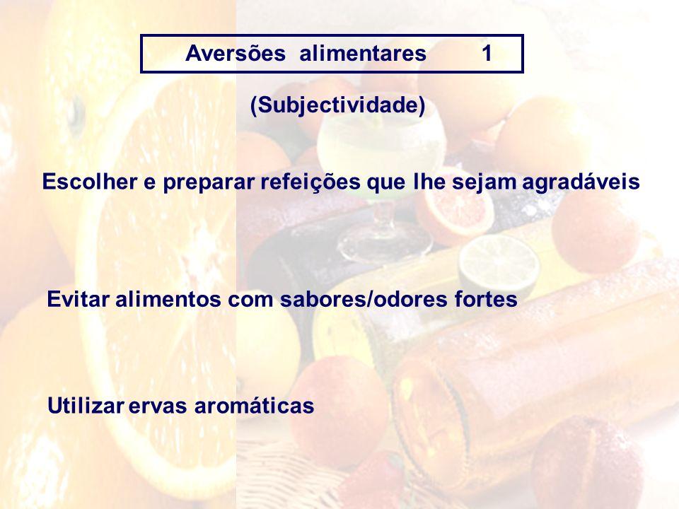 Aversões alimentares 1 (Subjectividade) Escolher e preparar refeições que lhe sejam agradáveis.
