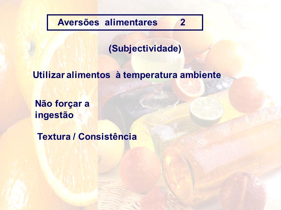 Aversões alimentares 2 (Subjectividade) Utilizar alimentos à temperatura ambiente. Não forçar a ingestão.