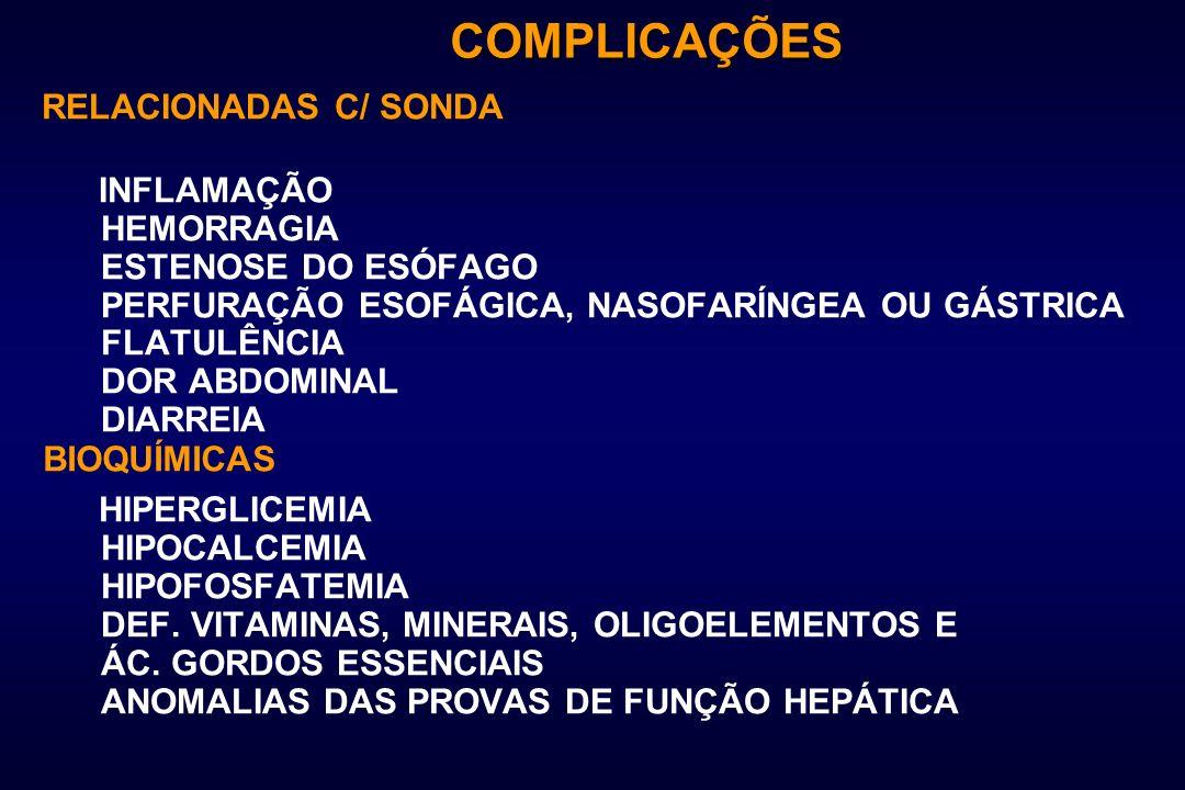 COMPLICAÇÕES RELACIONADAS C/ SONDA