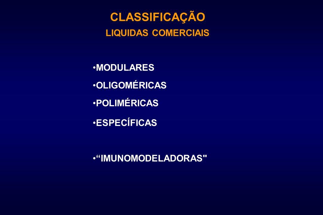 CLASSIFICAÇÃO LIQUIDAS COMERCIAIS MODULARES OLIGOMÉRICAS POLIMÉRICAS