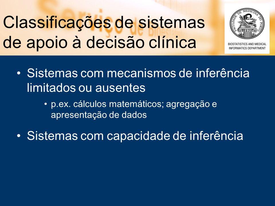 Classificações de sistemas de apoio à decisão clínica