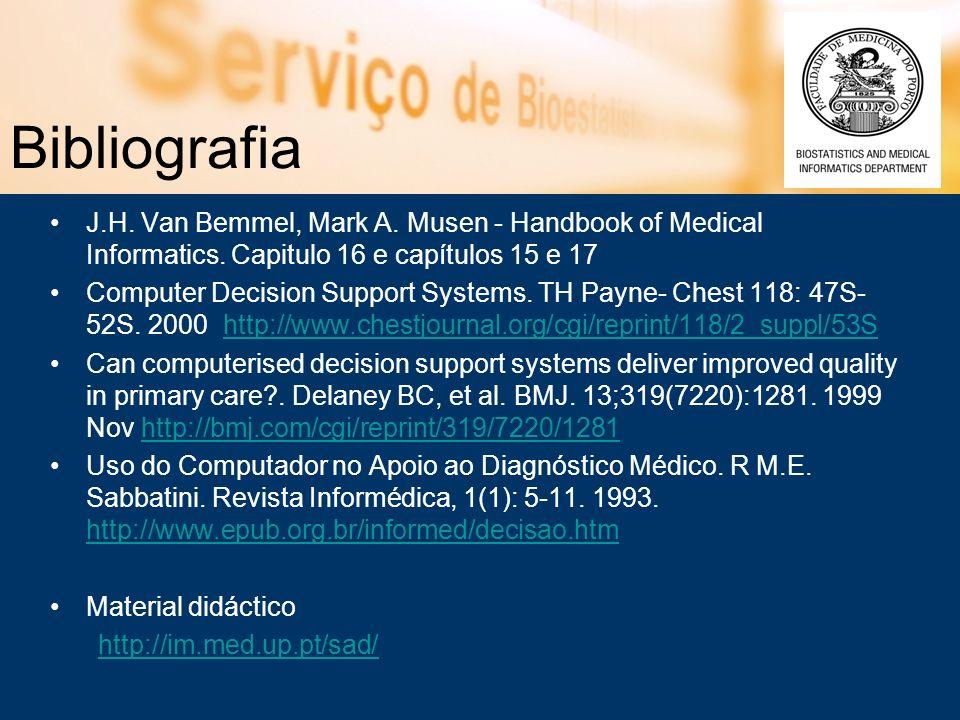 Bibliografia J.H. Van Bemmel, Mark A. Musen - Handbook of Medical Informatics. Capitulo 16 e capítulos 15 e 17.
