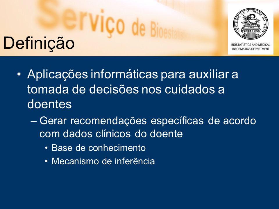 Definição Aplicações informáticas para auxiliar a tomada de decisões nos cuidados a doentes.