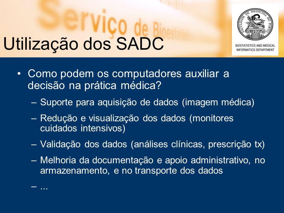Utilização dos SADC Como podem os computadores auxiliar a decisão na prática médica Suporte para aquisição de dados (imagem médica)