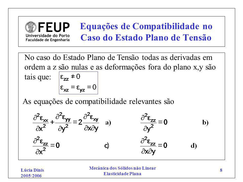 Equações de Compatibilidade no Caso do Estado Plano de Tensão