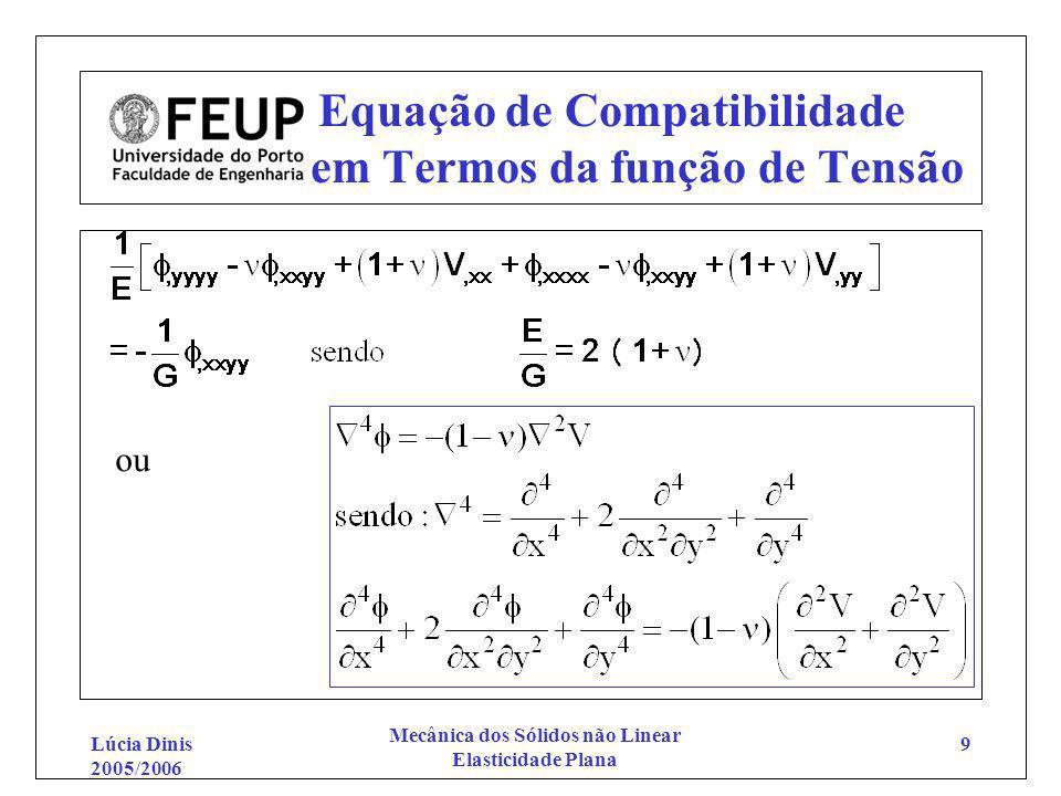 Equação de Compatibilidade em Termos da função de Tensão