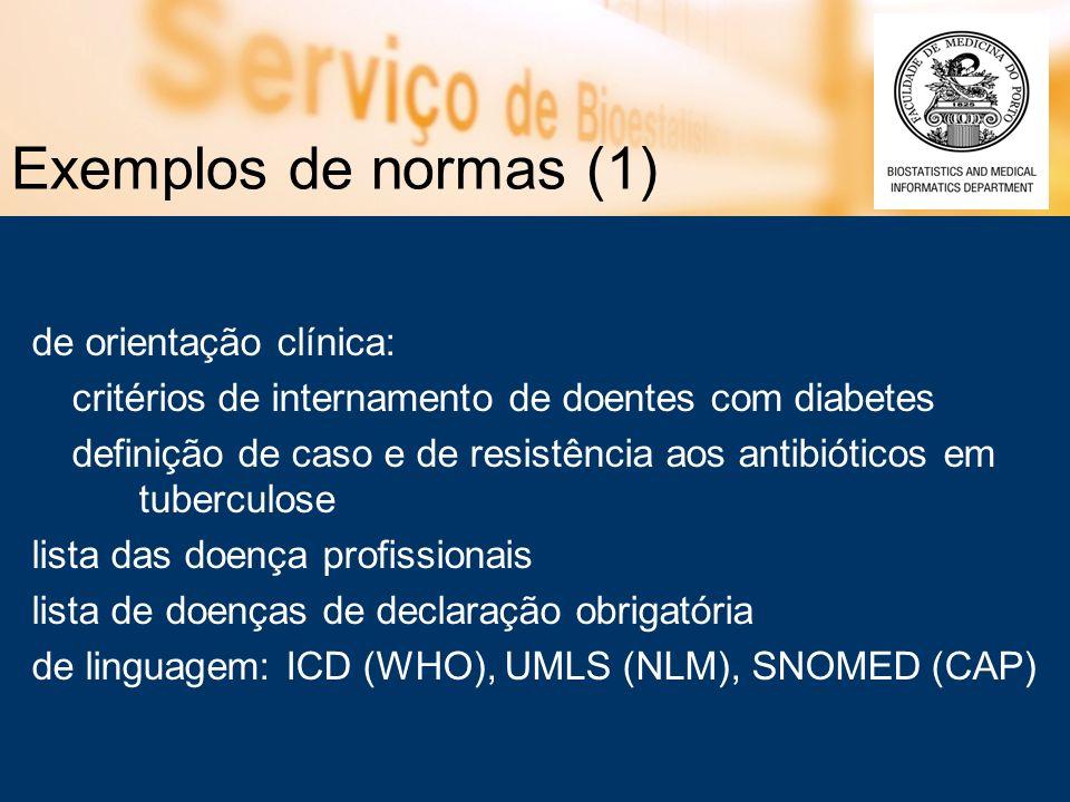 Exemplos de normas (1) de orientação clínica: