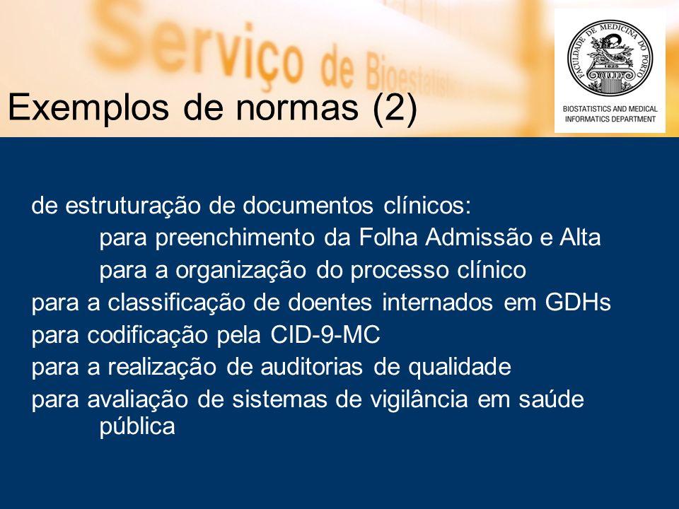 Exemplos de normas (2) de estruturação de documentos clínicos: