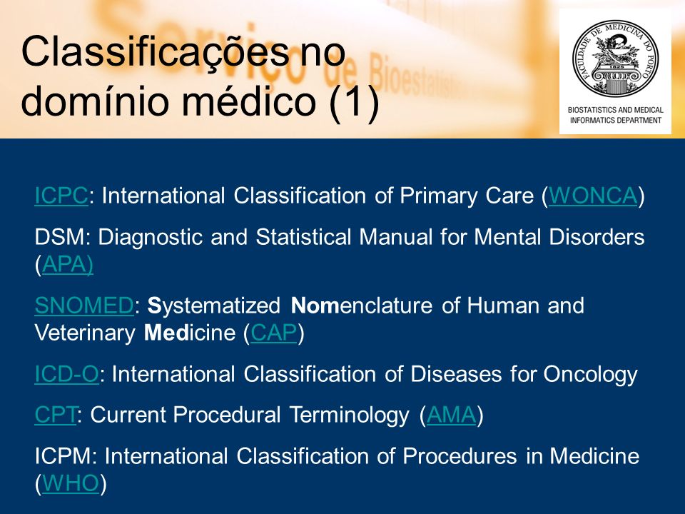 Classificações no domínio médico (1)