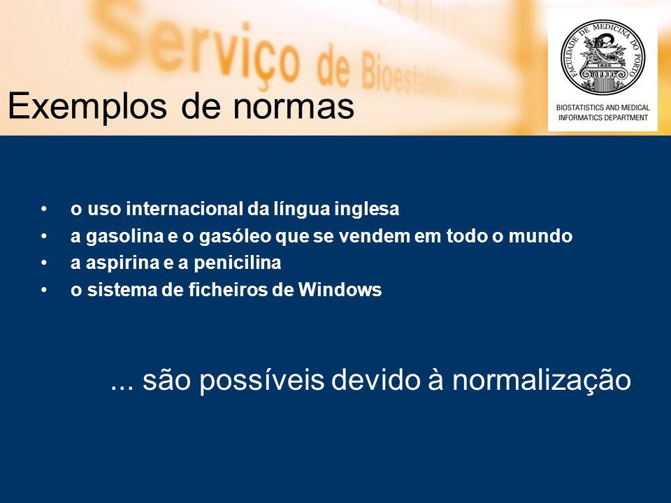 Exemplos de normas ... são possíveis devido à normalização