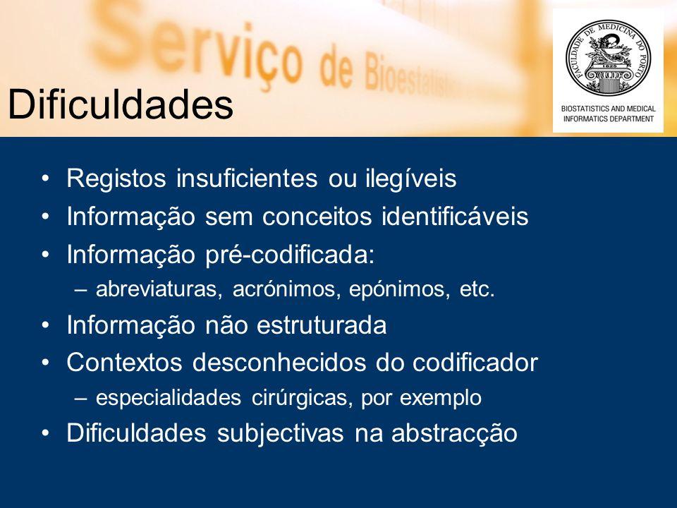 Dificuldades Registos insuficientes ou ilegíveis