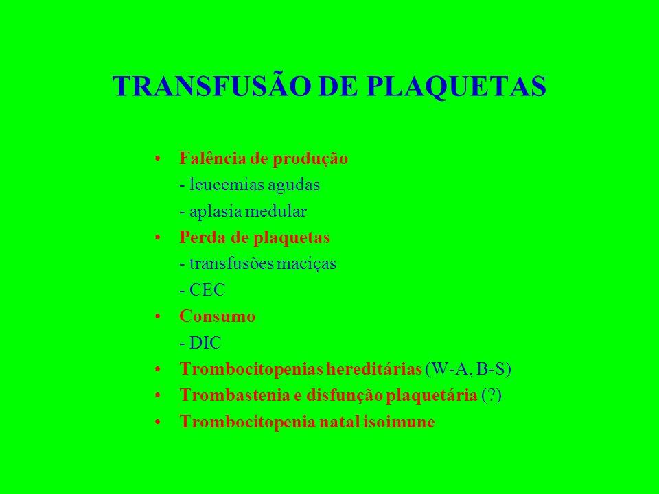 TRANSFUSÃO DE PLAQUETAS