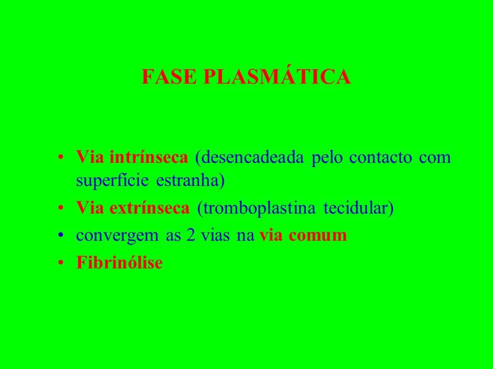 FASE PLASMÁTICA Via intrínseca (desencadeada pelo contacto com superfície estranha) Via extrínseca (tromboplastina tecidular)