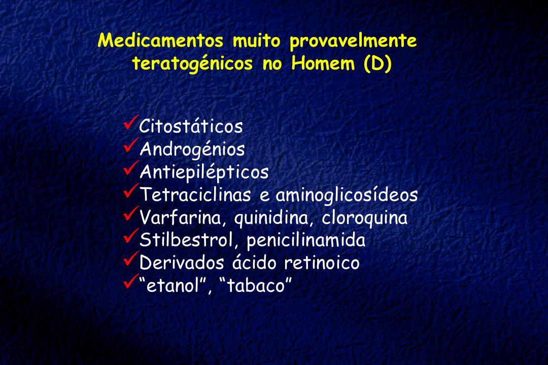 Medicamentos muito provavelmente teratogénicos no Homem (D)